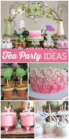 This beautiful tea party features cake pop topiaries, candy apples and a rosette cake! See more party ideas at CatchMyParty.com!: