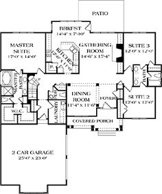 2093 Sq Ft Craftsman Ranch House Plan 3 Bedrm Home Craftsman Ranch, Craftsman Style House Plans, Cottage House Plans, Dream House Plans, Cottage Homes, House Floor Plans, My Dream Home, Craftsman Houses, Dream Homes
