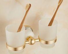 Mosadzný vintage stojan na poháriky Toothbrush Holder