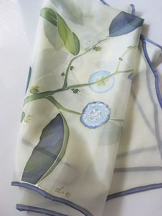 Hand painted silk scarf -- square shaped