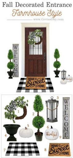 Fall Buffalo Plaid Farmhouse Entryway Porch Decor Buffalo plaid and topiary are so hot right now. Get in on the design trend with this front porch or entryway decor. Front Porch Makeover, Farmhouse Front Porches, Outdoor Entryway Decor, Front Porch Decorating, Porch Design, Entryway Decor, Fall Front Porch Decor, Front Porch Ideas Curb Appeal, Rustic House