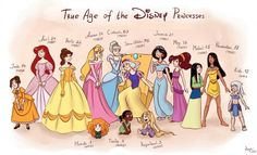 "True Ages of Disney Princesses. No wonder I love Belle so much, we're the same age.<-lol, i guess that's the same case for me and Mulan! (I'm going on the ""birth year"" not the age listed) Walt Disney, Disney Girls, Disney Love, Disney Magic, Disney Stuff, Disney Humor, Funny Disney, Pocket Princesses, Pocket Princess Comics"