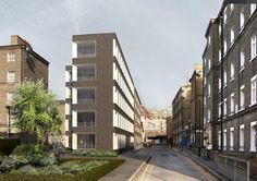 Níall McLaughlin Architects Proposed view up John Fisher Street and into courtyard