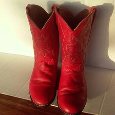 """Gorgeous Red Western Cowgirl Boots~Sz7~ACME BRAND Beautiful red leather cowboy boots, sz 7M,nice stitched detail on upper,leather soles, worn once! No heel or sole wear,couple of minor toe scuffs,hardly noticeable! 1 inch heel, round toe,would make a great pair of riding or show boots! Or pair with leggings for a sassy fashion look! Upper is 12.5 inches from top of boots to bottom of heel 10.25 from heel to toe on sole Width 3.25"""" at widest on sole ACME Shoes"""