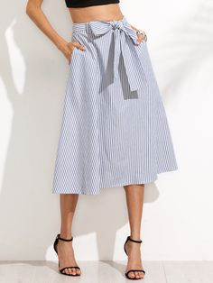 To find out about the Striped Pocket Tie Waist Flare Skirt at SHEIN, part of our latest Skirts ready to shop online today! White Midi Skirt, Stripe Skirt, Skirt Outfits, Dress Skirt, Box Pleat Skirt, Stripes Fashion, Mode Inspiration, Flare Skirt, Women's Fashion Dresses
