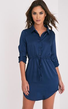 Amanda Navy Tie Waist Satin Shirt Dress - Dresses - PrettylittleThing | PrettyLittleThing.com