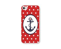 Red and White Polka Dot Anchor iPhone 4 Case - Navy Blue Plastic iPhone 4 Cover - Nautical Polka Dots iPhone 4 Skin - Cell Phone on Wanelo