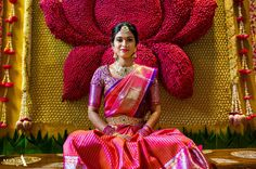 50 Stunning Bridal Sarees That Are Our Favourites From The Year 2017 Wedding Mandap, Saree Wedding, Wedding Blouses, Wedding Entrance, Entrance Decor, Dress Wedding, Wedding Bride, Fall Wedding, South Indian Bride