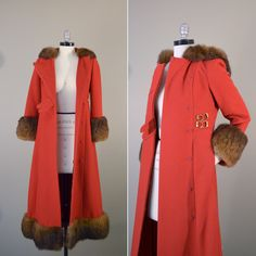 Vintage 1960s Wool Coat // 60s Hooded Coat with Fur Trim // Chic Red Riding Hood Coat. Brass Giraffe Vintage via Etsy.