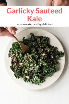 This quick and easy recipe is the absolute best way to make sauteed kale. Packed with flavor, tender, and without a trace of bitterness, this recipe can make anyone love kale. Add it to your dinner plans for a delicious side dish that is gluten free and low carb! #sidedish #quickandeasy