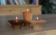 Image result for turned wood tealight candle holders