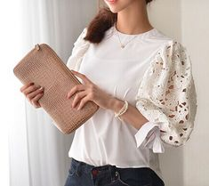 White blouse with lace sleeves - Blouse Styles, Blouse Designs, Hijab Fashion, Fashion Dresses, Sleeves Designs For Dresses, Sleeve Designs, Sewing Blouses, Iranian Women Fashion, Trendy Tops