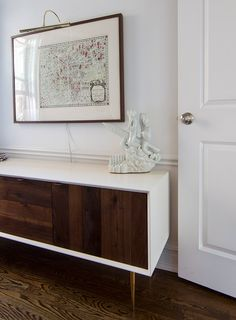 A fauxdenze inspired by this... white surround with stained doors | Design*Sponge