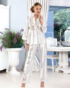 b5deb50285 Miranda Satin and Lace Bridal Pyjama Set Silk Sleepwear