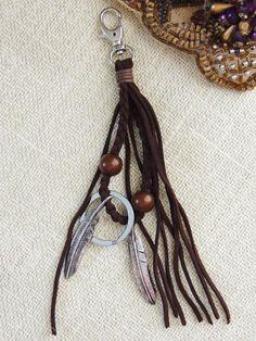 Suede TasselLeather Tassel Key Chain Tassel by ClothingBucketStore