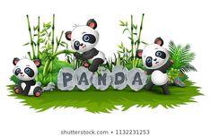 """Stock vektor """"panda hrají spolu v zahradě"""" (bez autorských poplatků) 1132231253 Panda Themed Party, Panda Birthday Party, Panda Mignon, Panda Lindo, Pandas Playing, Cute Panda Wallpaper, Theme Background, Vector Background, Panda Wallpapers"""