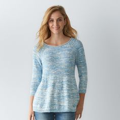 Women's SONOMA Goods for Life™ Marled Crewneck Sweater, Size: Medium, Med Blue