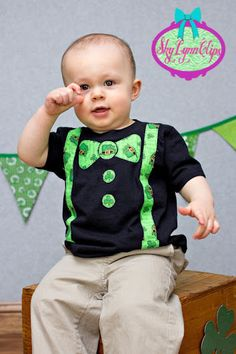 St. Patricks Day Inspired Bow Tie & Suspenders Appliqued T-Shirt. $18.00, via Etsy.
