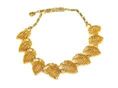Vintage Lisner Leaf Necklace Choker by TheFashionDen on Etsy
