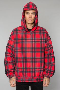 Tartan Wool Fabric Traditional British Plaid Mens 3D Printed Pullover Long Sleeve Hooded Sweatshirts with Pockets
