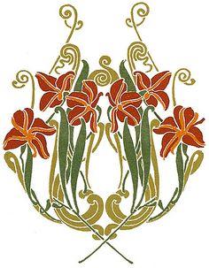 Full-Color Art Nouveau Designs and Motifs 4 Motifs Art Nouveau, Azulejos Art Nouveau, Art Nouveau Pattern, Art Nouveau Tiles, Art Nouveau Design, Design Art, Door Design, Tatuaje Art Nouveau, Art Nouveau Tattoo