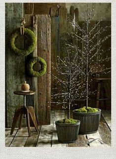 Yule style!! Using green moss for lots of Christmas Holiday trees, wreaths and decoration!