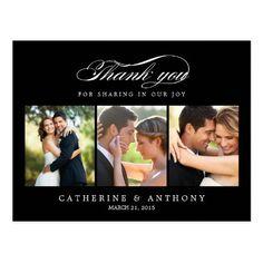 Simply Elegant Wedding Thank You Card - Black