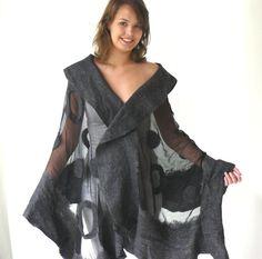Nuno felted shawl large scarf wool and silk by MajorLaura