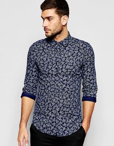 $59.85 United Colors of Benetton Floral Print Shirt in Cotton Linen