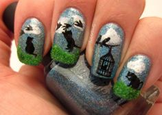 """""""Birds of a Feather"""" Stamped Nail Art Design created in honor of my fur babies…"""