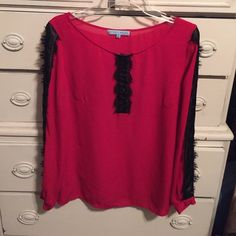 Antonio Melani red & black blouse sz m Bundle 3 or more items and save an additional 15%.  Much more value to offset the shipping charges! ANTONIO MELANI Tops Blouses