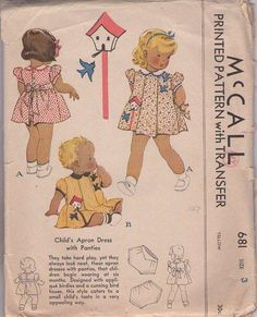 MOMSPatterns Vintage Sewing Patterns - McCall's 681 Vintage 30's Sewing Pattern DARLING Toddler Girls Shirley Temple Style Pleated Front Apron Dress, Applique Bird & Birdhouse, Tap Panties Bloomers, Modest Shorts Size 3