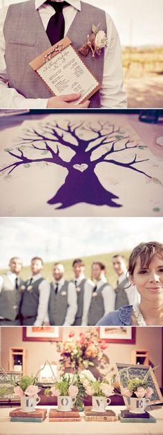 love the guest book tree where guests let their thumbprints to create leaves on a tree.
