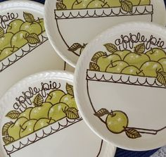 4 Royal China Co USA Country Harvest Apple Pie Bowl Basket Dessert Pie Plates  #RoyalChina