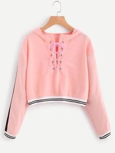 Eyelet Lace Up Stripe Trim HoodieFor Women-romwe Source by Teen Fashion Outfits, Outfits For Teens, Trendy Outfits, Fall Outfits, Girl Fashion, Summer Outfits, Cute Outfits, Mode Hipster, Jugend Mode Outfits