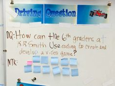 Driving question bulletin board to focus Project Based Learning