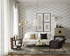 Wallpaper Kungsholm by Sandberg - white with grey for PR option? Samples can be seen and/or ordered from Orling and Wu.