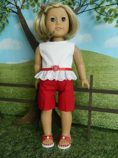 American Girl doll clothes summer outfit for American Girl doll or similar doll by SewCuteJune on Etsy American Girl Accessories, American Girl Clothes, American Girls, Doll Accessories, Ag Doll Clothes, Children Clothes, Doll Clothes Patterns, Doll Patterns, Sewing Dolls