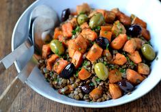 Warm Lentil Salad with Sweet Potato & Olives from Coconut and Berries