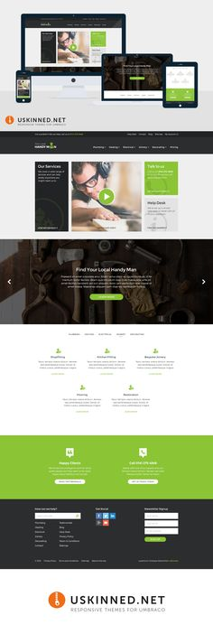 Handy Man is a beautiful multi purpose responsive Umbraco theme coming soon to uSkinned. It uses a fantastic multi-level responsive navigation uskinned.net/themes/ #responsive #umbraco #themes #travel #handyman #tools #ui #design #webdesign #handymen #joiner #plumber #restaurant #education #electrician #wordpress