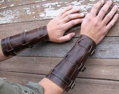 Distressed Steampunk Brown Leather Gauntlets