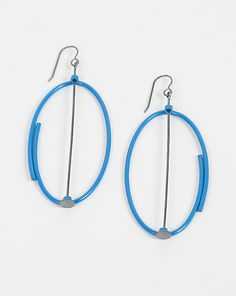 """""""Large Blue Oval...""""  Silver Earrings  by Donna D'Aquino  $ 195"""