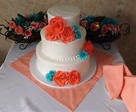 Turquoise and Coral Wedding Cake - Bing images