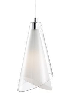 Kuzco Lighting | 401081 | Single Lamp Pendant with Cone Shaped White Opal and Clear Glass