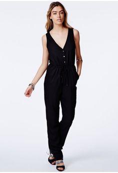 Missguided - Julija Black Button Front Jumpsuit