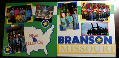 Branson MO scrapbook layout,  Silver Dollar City; scrapbook concierge layout