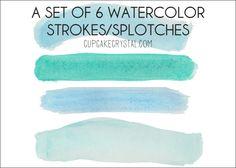 Free Watercolor Seafoam Brush strokes Clipart