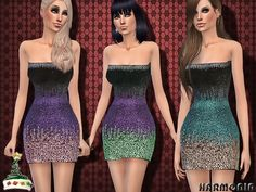 The Sims Resource: Sequinned Christmas Party Dress~Xmas 2015 by Harmonia • Sims 4 Downloads