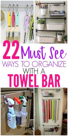 22 Brilliant Towel Bar Organization Hacks - Organization Obsesssed Need to organize your home but have very little space? Check out these towel bar organization hacks that you can use all over your home to get organized! Organisation Hacks, Organizing Hacks, Organizing Your Home, Room Organization, Organising, Diy Hacks, Dollar Tree Organization, Small Home Organization, Camping Organization