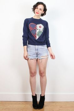 Vintage 90s Sweatshirt Navy Blue Country Revival Kitsch HEART Doily Plaid Embroidered 1990s Sweatshirt Soft Grunge Jumper XS Extra Small S #1990s #90s #etsy #vintage #softgrunge #kitsch #folk #heart #sweatshirt #sweater #tshirt #jumper #soft #grunge #softgrunge
